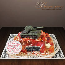 Детский торт с танком № 267 Д