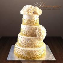 Свадебный торт с золотом № 248 С