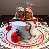 Свадебный торт с совами № 258 С