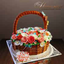 Торт на день рождения корзина роз № 185 Т