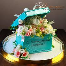 Торт шкатулка с цветами № 200 Т