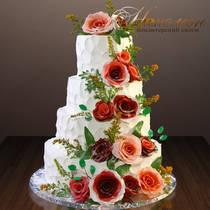Свадебный торт сливки № 368 С