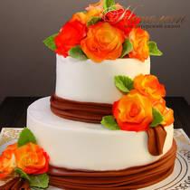 Свадебный торт с цветами № 377 С
