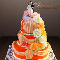 Свадебный торт с фигурками № 388 С