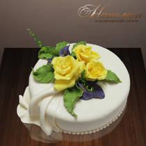 Торт с жёлтыми розами № 034 Т