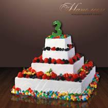 Праздничный торт с ягодами № 103 Д