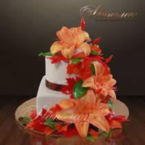 """Подарочный торт """"Букет лилий"""" № 057 Т"""